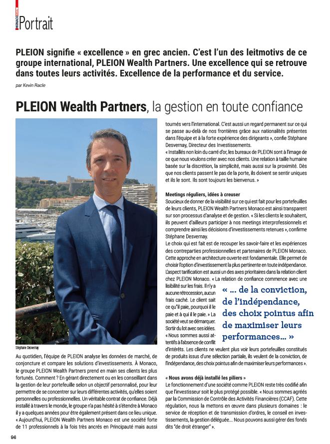 Portrait PLEION - Monaco Economie FR Julliet 2021